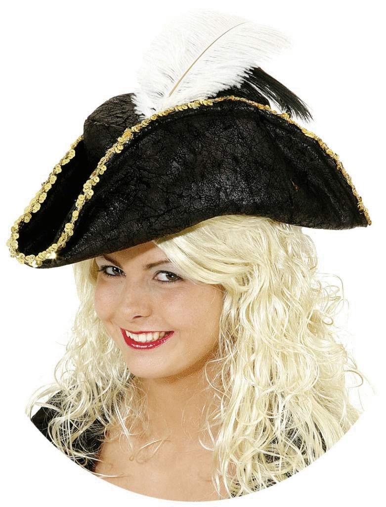 Piratenhut Mit Federn Und Goldborte Dreispitz Hut Hute Mutzen