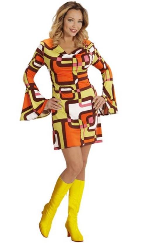 70er Jahre Schlager Kleid Damen Kostume Erwachsene Body Umhang